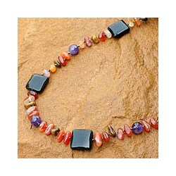 Handcrafted Multi-gemstone 'Autumn Orchid' Necklace (Thailand)