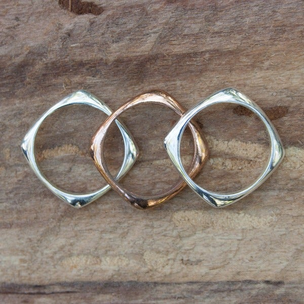 Handmade Set of 3 Sterling Silver and Copper 'Taxco Destiny' Rings (Mexico)