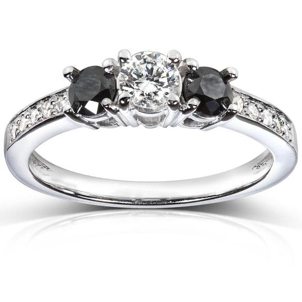 Annello by Kobelli 14k White Gold 3/5 ct TDW Black and White Diamond Engagement Ring (H-I