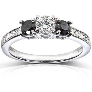 Annello by Kobelli 14k White Gold 3/5 ct TDW Black and White Diamond Engagement Ring (H-I