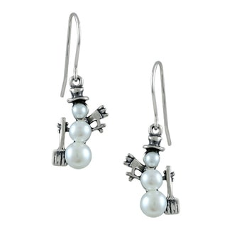 Silvermoon Sterling Silver Pearl Snowman with Broom Earrings