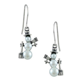 Silvermoon Sterling Silver Pearl Snowman with Broom Earrings|https://ak1.ostkcdn.com/images/products/6291428/P13923547.jpg?impolicy=medium