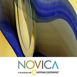 Murano Glass 'Amber Tulip' Handblown Vase (Brazil)