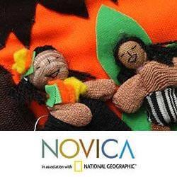 Cotton 'Amazon Nativity' Applique Christmas Stocking (Peru)