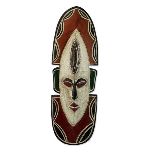 Handmade Sese Wood 'Love Me' African Mask (Ghana)