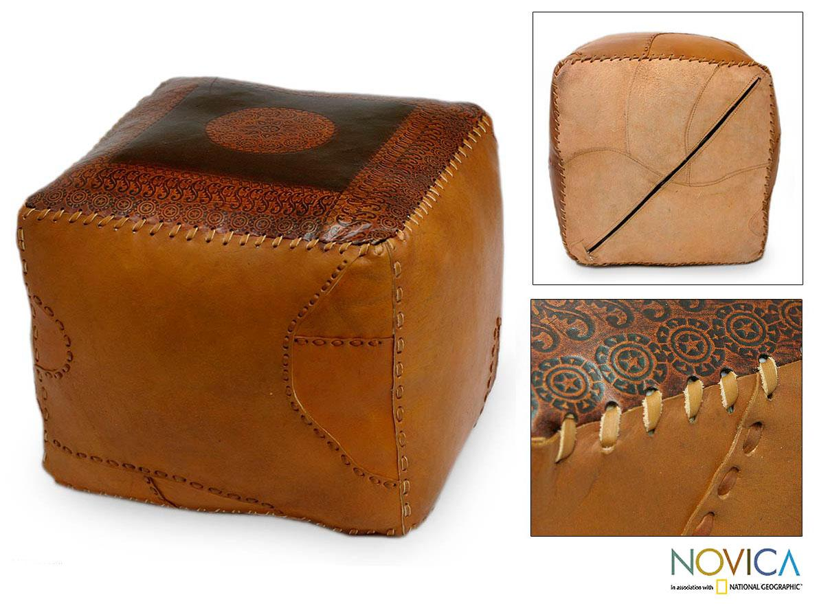 Leather 'Square Brazilian Constellations' Ottoman Cover (Brazil)