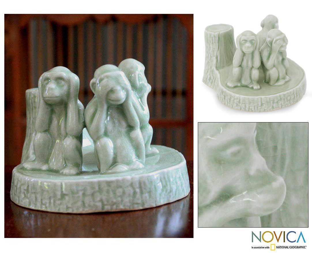 Handmade Celadon Ceramic 'Wise Monkeys' Sculpture (Thailand)