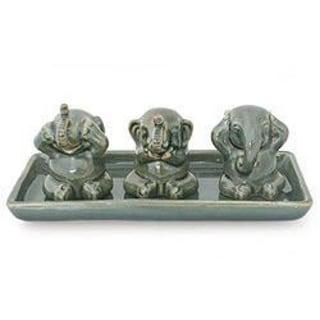 Elephant Lesson Hear Speak See No Evil Artisan Figurine Decor Accent Green Celadon Ceramic Signed Art Work Sculpture (Thailand)