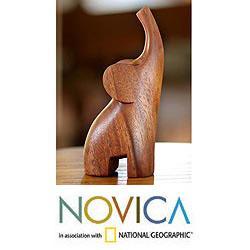Suar Wood 'Essential Elephant' Sculpture, Handmade in Indonesia