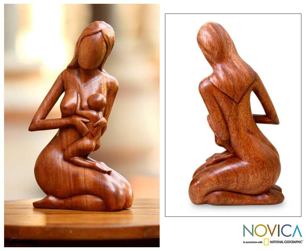 Handcrafted Suar Wood 'Mother and Her Child' Sculpture, Handmade in Indonesia