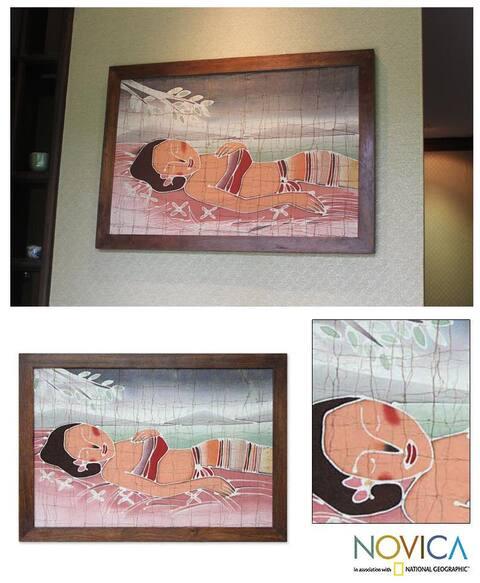 Handmade Alaya Cholprasertsuk 'Feminine Beauty' Framed Batik Art (Thailand) - Brown