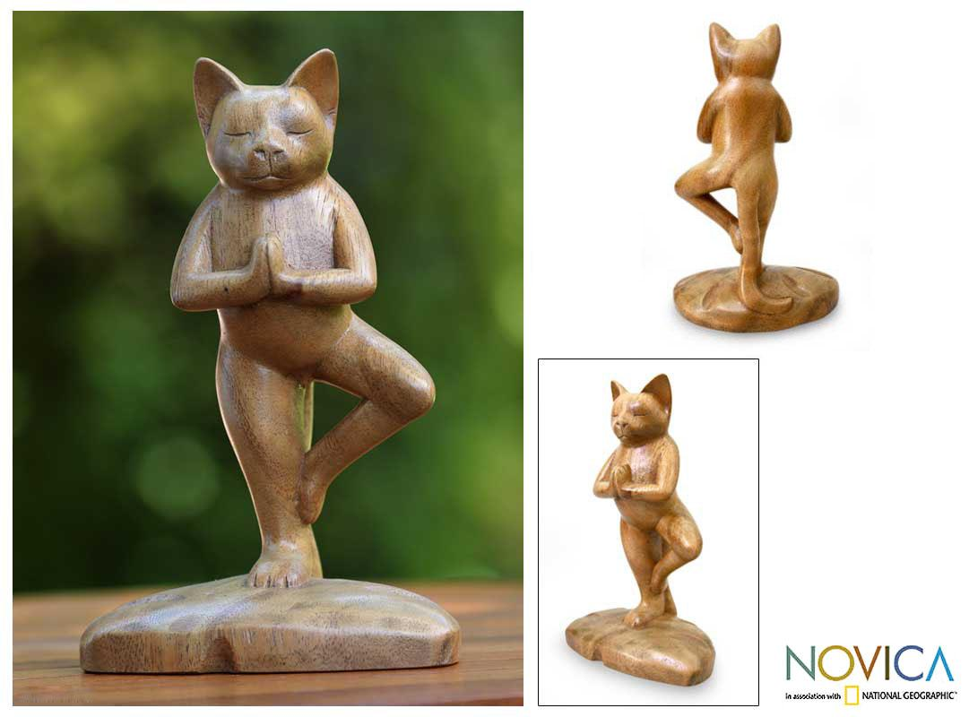 Handcrafted Suar Wood 'Tree Pose Yoga Cat' Sculpture, Handmade in Indonesia