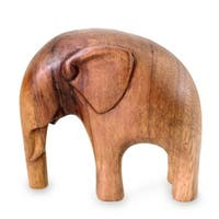 Handmade Suar Wood 'Modern Elephant' Sculpture (Indonesia)