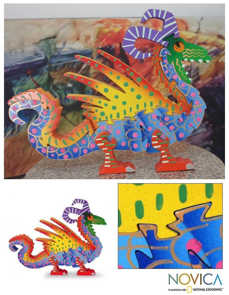 Handmade Wood 'Mischievous Dragon' Display Jigsaw Puzzle (Mexico)