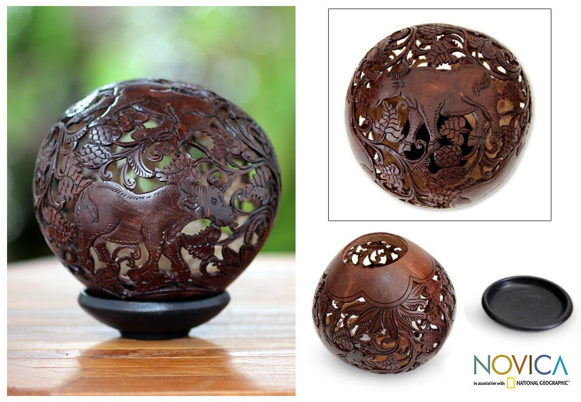 Handmade Coconut Shell 'Water Buffalo' Sculpture (Indonesia)