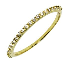 14k Yellow Gold over Silver Clear Cubic Zirconia Band - Thumbnail 1