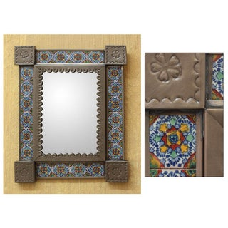 Colonial Garland Embossed Tin Hand Painted Blue and Multicolor Ceramic Tile Unique Art Work Rectangular Wall Mirror (Mexico)