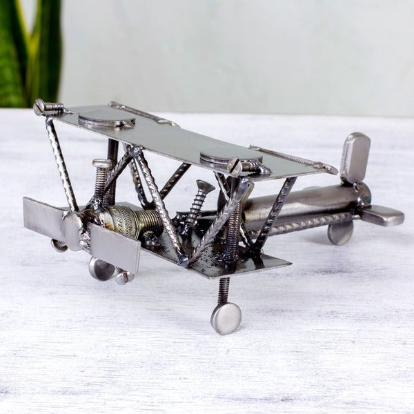 Handmade Recycled Metal 'Rustic Biplane' Sculpture (Mexico)