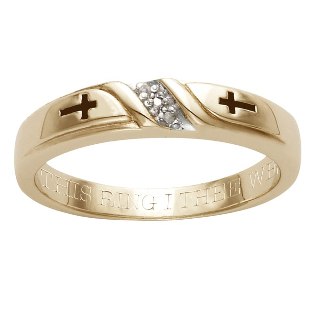18k Gold over Silver Diamond Accent 'With This Ring I Thee Wed' Band