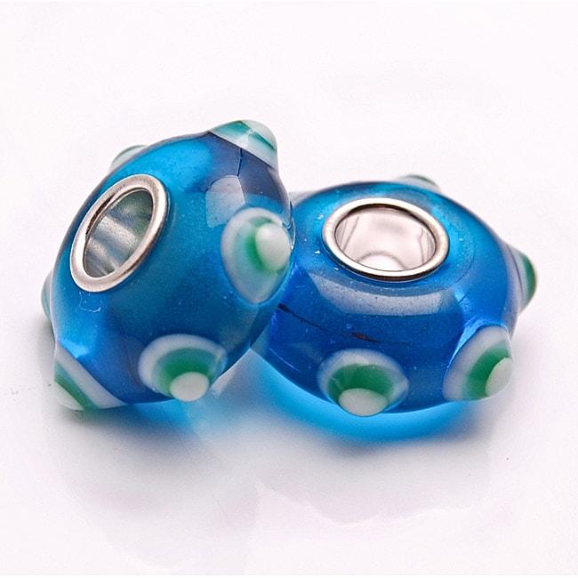Bleek2Sheek Glass Blue and Green Bumps Charm Beads (Set of 2)