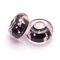 Bleek2Sheek Glass Black Silvertone Specks Charm Beads (Set of 2)
