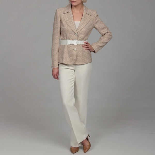 Tahari Women's Beige Three-button Belted Pant Suit - Free Shipping