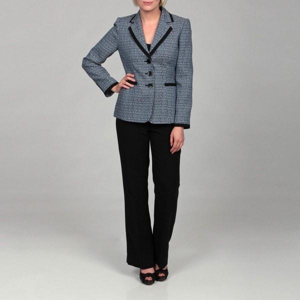Shop Tahari Women S Navy Blue White Tweed Pant Suit Free