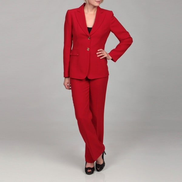 Tahari Women's Red Two-button Pant Suit - 13923669 - Overstock.com ...