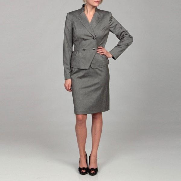 tahari s grey pleat detail skirt suit free