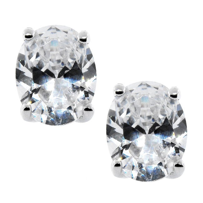 High-Polish Sterling-Silver Clear Cubic Zirconia Oval Stud Earrings