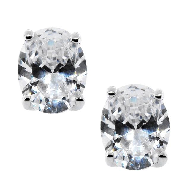 Sterling Silver Clear Cubic Zirconia Oval Stud Earrings