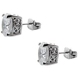 Sterling Silver Clear Cubic Zirconia Oval Stud Earrings - Thumbnail 1