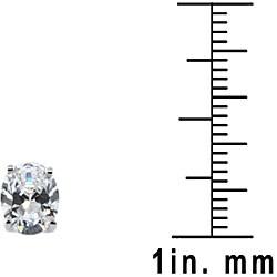 Sterling Silver Clear Cubic Zirconia Oval Stud Earrings - Thumbnail 2