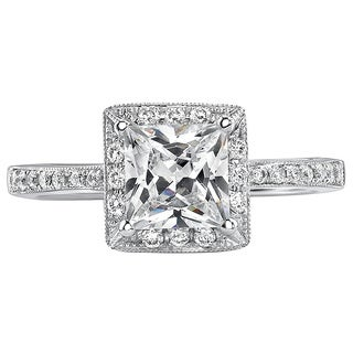 18k White Gold 1ct TDW Certified Princess Diamond Engagement Ring