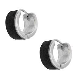 Stainless Steel Black Mini-hoop Earrings