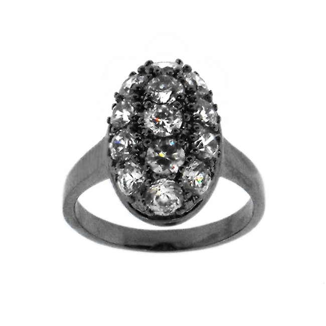 Black-plated Brass Clear Cubic Zirconia Oval Ring