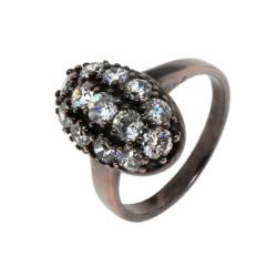 Brown-plated Brass Clear Cubic Zirconia Oval Ring