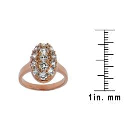 14k Rose Goldplated Clear Cubic Zirconia Oval Ring