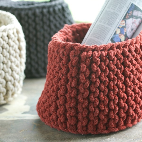 Knitting Rope For Sale : Hand knit small brick red rope basket india free