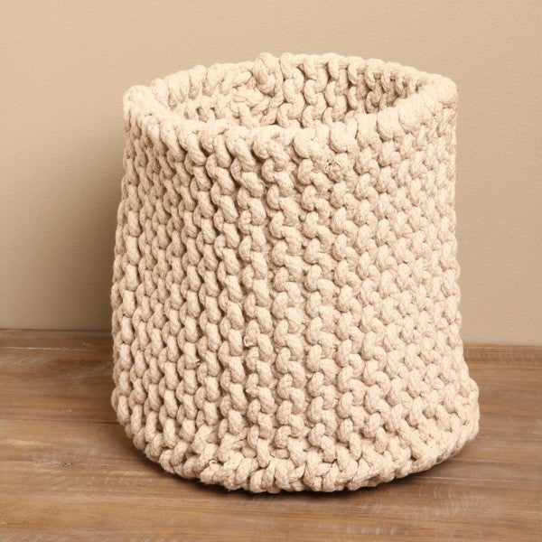Hand-knit Small Taupe Rope Basket (India). Opens flyout.