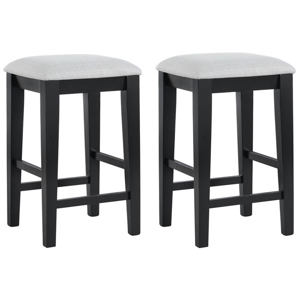 Black Grain And Grey Fabric 24 In Barstools Set Of 2