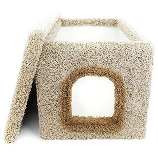 New Cat Condos Wood and Carpet Large Hidden Litter Box Enclosure (Option: Brown)