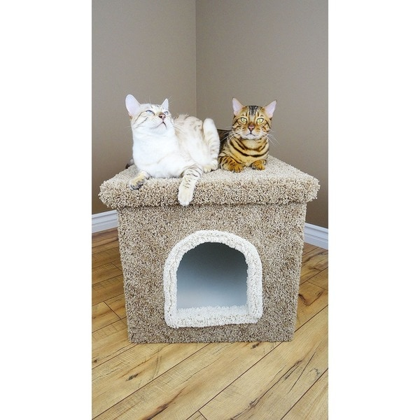 New Cat Condos Wood and Carpet Large Hidden Litter Box Enclosure