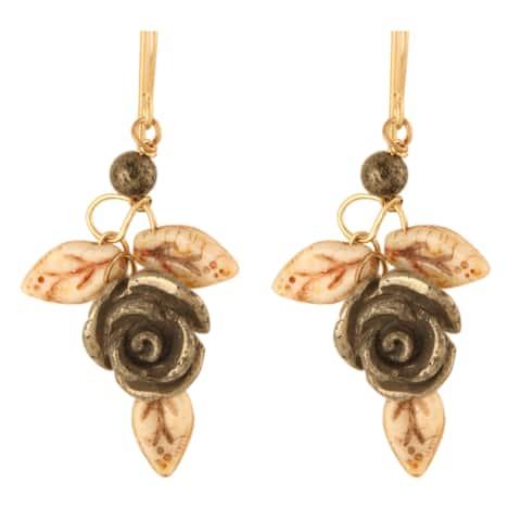 Aiyana Pyrite Carved Rose Earrings