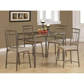 Cappuccino Marble/ Bronze Metal 5-piece Dining Set