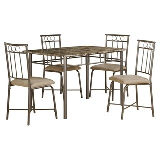 Captivating Cappuccino Marble/ Bronze Metal 5 Piece Dining Set Good Ideas