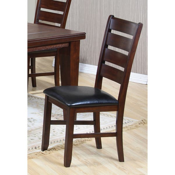 Dark Oak Leather Look Dining Chairs Set Of 2 Overstock 6291904