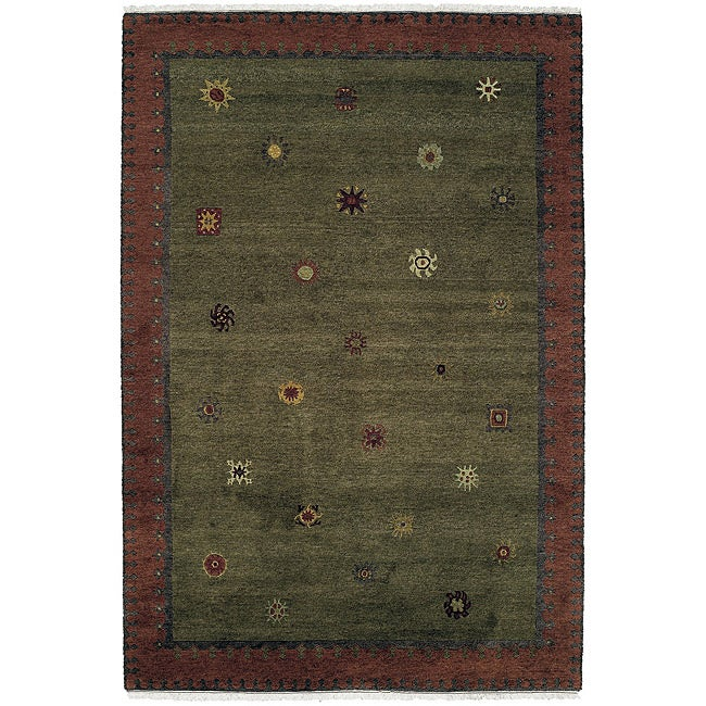 Nepalese Hand-Knotted Green Sol Moss Wool Rug (3' x 5')
