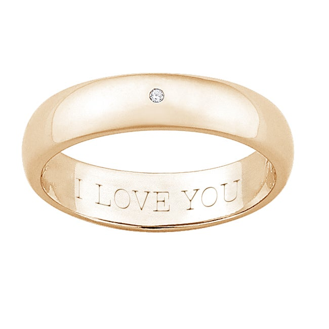 18k Gold over Silver Diamond Accent 'I LOVE YOU' Band