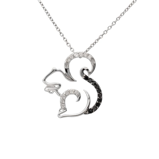 Sterling Silver 1/4ct TDW Black and White Diamond Squirrel Necklace